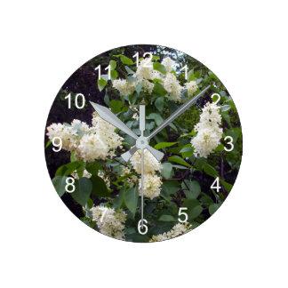 Lovely White Lilac Bush Wall Clock