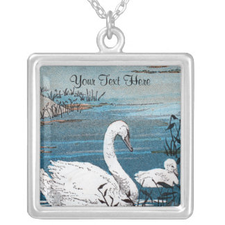 Lovely white Mother Swan in Lake with Baby Swan Silver Plated Necklace
