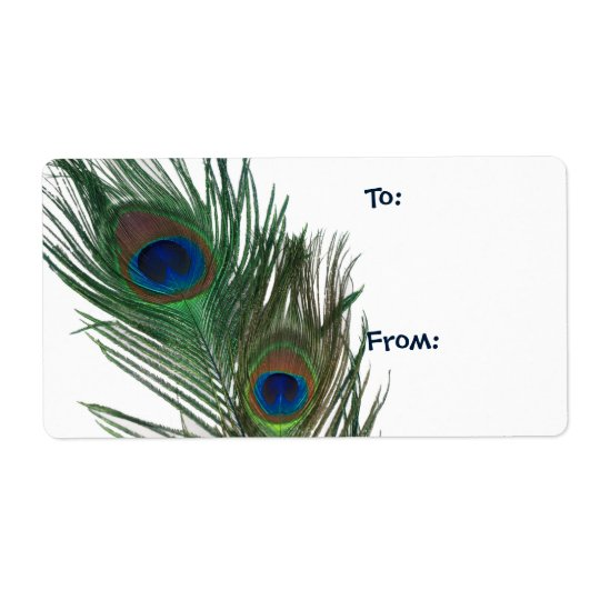 Lovely White Peacock Gift Tag Shipping Label