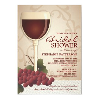 Lovely Wine & Grapes Bridal Shower Invitation