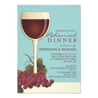 Lovely Wine & Grapes Rehearsal Dinner Invitation