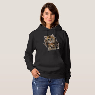 Lovely Women's Hooded Sweatshirt In Kitten Design