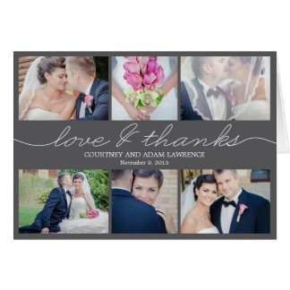 Lovely Writing Wedding Thank You Card - Grey