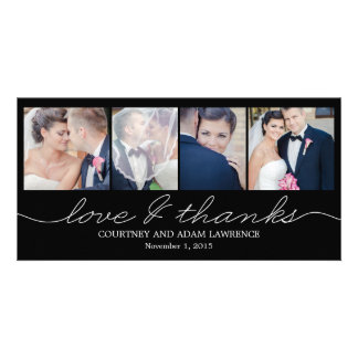 Lovely Writing Wedding Thank You Cards - Black Personalized Photo Card