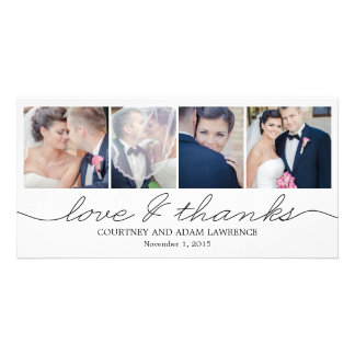 Lovely Writing Wedding Thank You Cards - White Photo Greeting Card