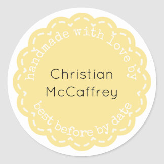 Lovely Yellow Rosette Handmade Custom Label