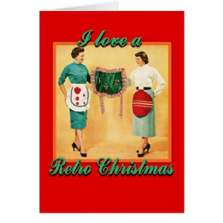 LoveRetroChristmasLadiesAprons-GreetingCard Greeting Card