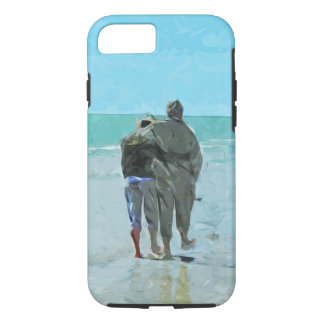 Lovers Anniversary Walk on the Beach Abstract iPhone 7 Case