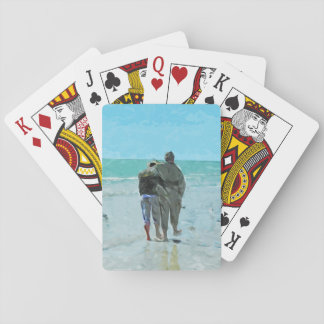 Lovers Anniversary Walk on the Beach Abstract Poker Deck