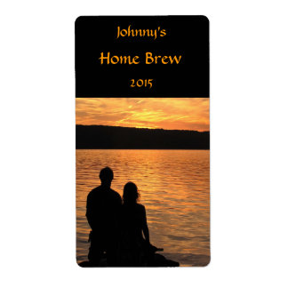 Lovers at Sunset Lake Beer Label