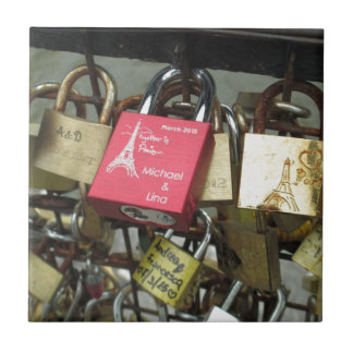 Lovers Bridge - Paris Love Locks, France - Zoom in Tile