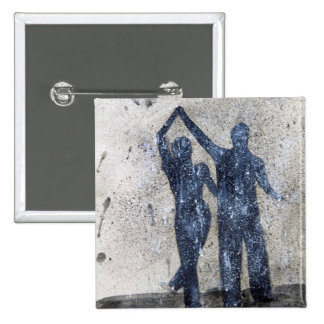 Lovers dancing in rain 2 inch square button