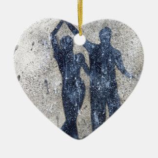 Lovers dancing in rain ceramic ornament
