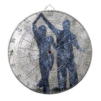 Lovers dancing in rain dart boards