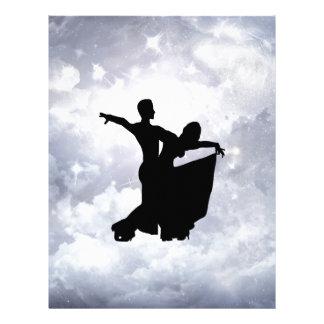 Lovers dancing in romance letterhead