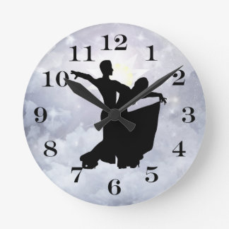 Lovers dancing in romance round clock