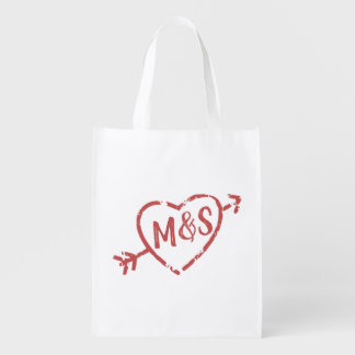Lovers Doodle Heart Monogram Reusable Grocery Bag