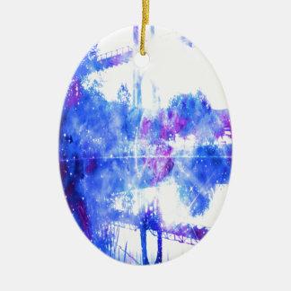 Lover's Dreams Bridge to Anywhere Ceramic Oval Ornament
