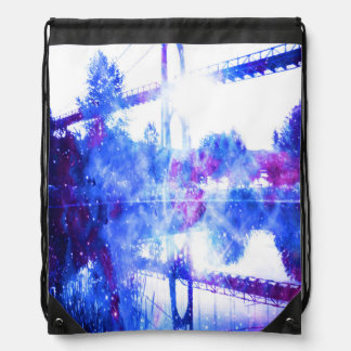 Lover's Dreams Bridge to Anywhere Drawstring Bag