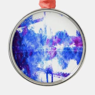 Lover's Dreams Bridge to Anywhere Silver-Colored Round Ornament