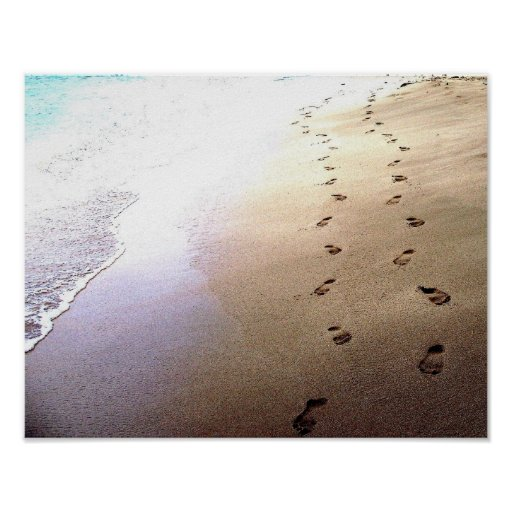 Lovers Footprints Dot Sand Secluded Barbados Beach Print