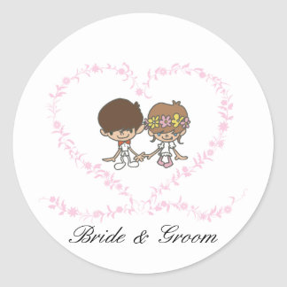 Lovers Heart-Bride and Groom-1 Round Sticker