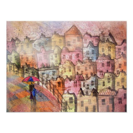 Lovers in Italy Watercolor Poster Print