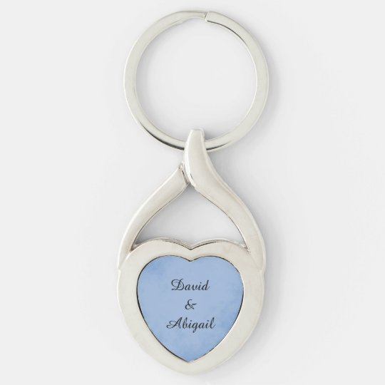 Lovers Indigo Blue Parchment Silver-Colored Twisted Heart Keychain