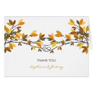 Lovers Knot Fall Autumn Trees Wedding Thank You Card