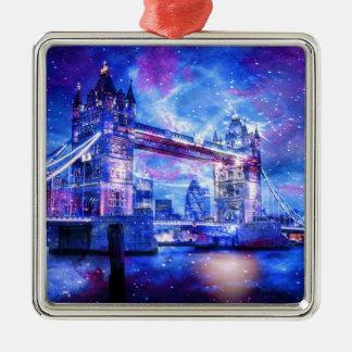 Lover's London Dreams Silver-Colored Square Ornament
