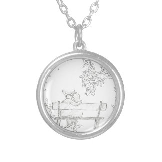 Lovers on a bench sketch 1953 Vintage Silver Plated Necklace