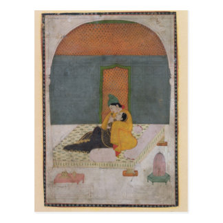 Lovers on a terrace, Garhwal, c.1780-1800 Postcard