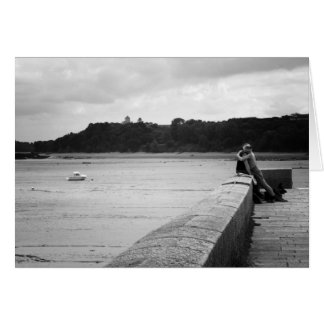 Lovers on the pier, Cancale, France Card