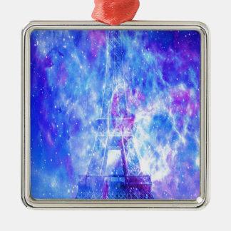Lover's Parisian Dreams Silver-Colored Square Ornament