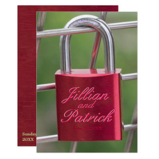 Lovers Red Sapphire Padlock Chain Link Wedding Card