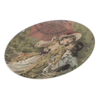 Lovers Under Umbrella Party Plates