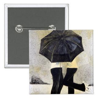 Lovers with umbrella in rain 2 inch square button