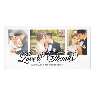 Loves and Thanks Black Script 3-Photo Photo Card Template