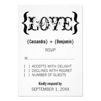 Love's Embrace Response Card, Black and White Invites