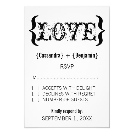Love's Embrace Response Card, Black and White Invites
