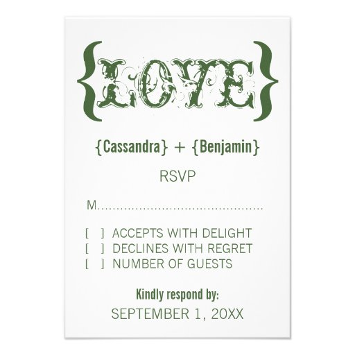 Love's Embrace Response Card, Dark Green Custom Announcement