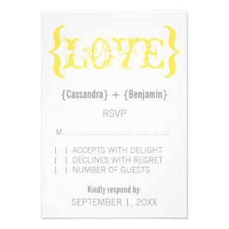 Love's Embrace Response Card, Marigold Custom Announcement