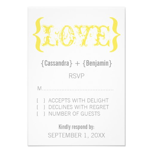 Love's Embrace Response Card, Marigold Custom Announcement