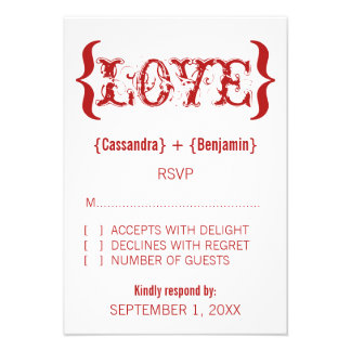Love's Embrace Response Card, Red Invite