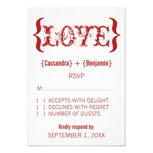 Love's Embrace Response Card, Red Invite