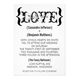 Love's Embrace Wedding Invitation, Black and White