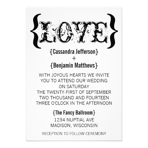 Love's Embrace Wedding Invitation, Black and White
