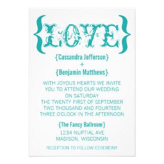 Love's Embrace Wedding Invitation, Teal