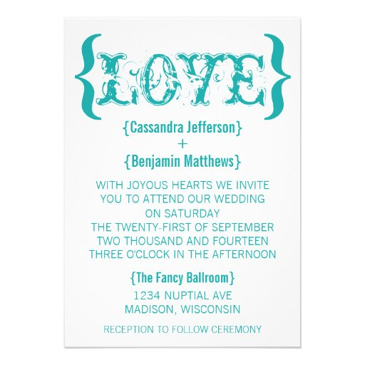 Love's Embrace Wedding Invitation, Teal