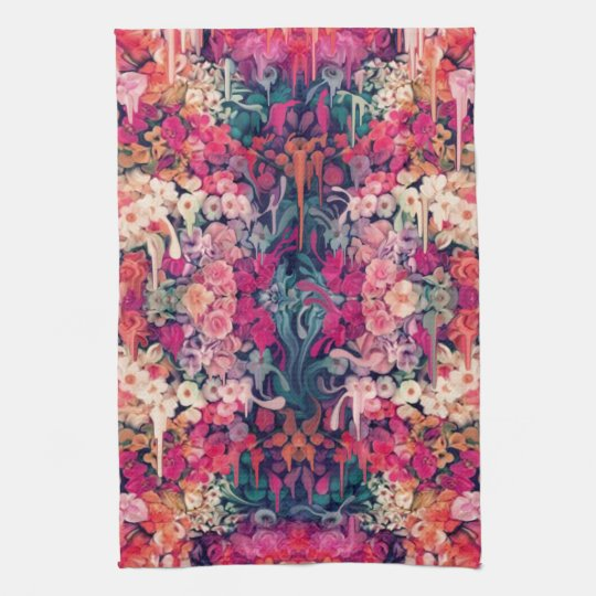 Loves me Maybe, melting floral pattern Hand Towels